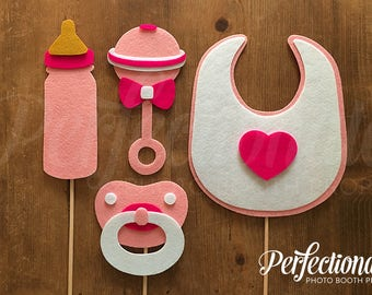 4 Baby Shower Props | Baby Girl Shower Props | Pink Baby Shower Props