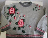 80s 3X Handknit Pullover Sweater Gray Pink Floral Acrylic