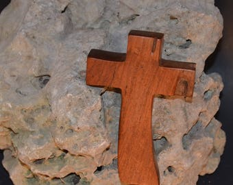 "Wall Cross; Wood;Holding Cross;Made in Texas; Crooked Cross;Cross Wall Decor; Mesquite; Wooden Wall Cross; 3""x5""x1""; cc5-5120117; Home Decor"
