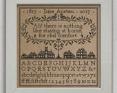 INSTANT DOWNLOAD A Real Comfort A Jane Austen Sampler PDF cross stitch patterns by Modern Folk at thecottageneedle.com monochromatic 1817