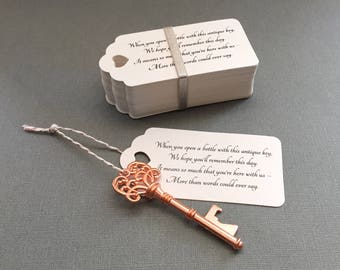"Skeleton Key BOTTLE OPENERS + ""Poem"" Thank-You Tags – Wedding Favors set of 50 - Ships from United States - Rose Gold"