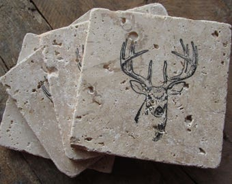 Natural stone coaster. Deer Coasters.  Birthday Gift. Rustic Decor.  Set of Four Coasters. Masculine Gift.  Hunting.