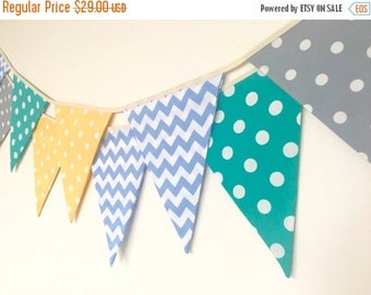 ON SALE Baby Boy Bunting, Fabric Banners, Garland, Yellow, Gray,Green and Blue Shade - 3 yards (Ready to ship)