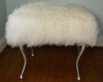 Real Natural White Mongolian Lamb Fur Stool Tibet Bench Brass