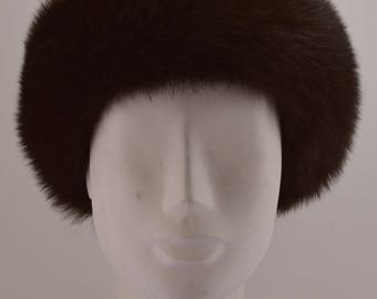 Brown Fox Fur Headband new made in the usa