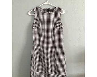 90's Black and White Gingham Dress