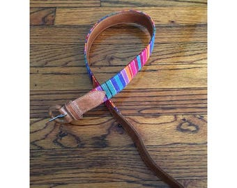Tan Leather and Colorful Woven Belt