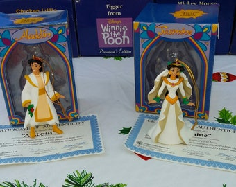 1997 Vintage Grolier Disney Christmas Ornaments Aladdin & Jasmine COA 1st Run President's Club