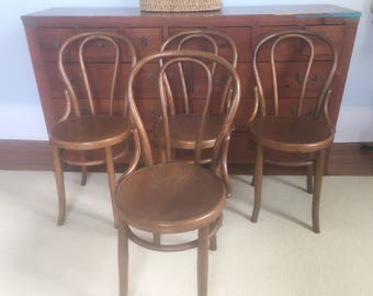 Thonet Bentwood Cafe Chairs// Antique Cafe Chairs// Thonet stools// 4 Thonet Chairs