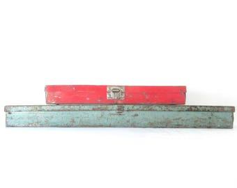 Vintage Tool Box / Rustic Industrial / Metal / Chippy Enamel / Blue Green