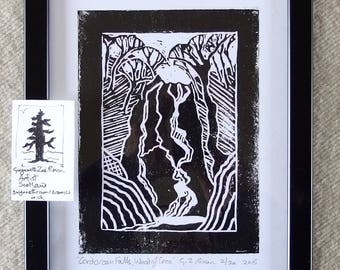 handmade linocut ,Cordorcan Falls