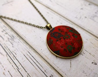 Fabric Pendant Necklace, Fabric Necklace, Pendant Necklace, Fabric Jewelry, Boho Necklace, Olive, Antique Brass Necklace, Winterberry