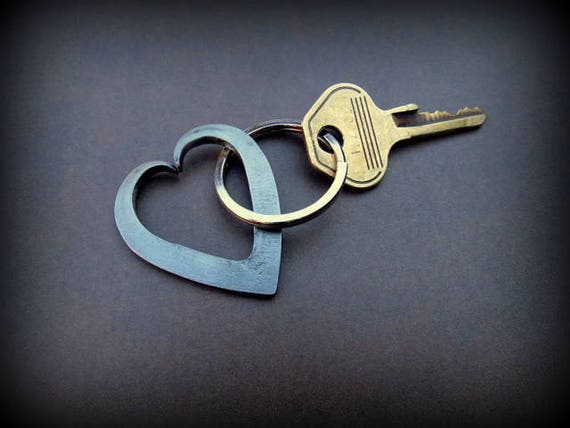 HEART KEYCHAIN - 6th Wedding Anniversary Gift Idea Gifts for Wife Girlfriend Couple Forged by Blacksmith Naz Personalized Option Available