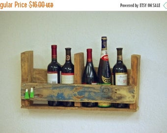 "Back To School Sale sale 6 Bottle 24"" Miniature Wine rack Reclaimed distressed wood pallet Wine rack rustic kitchen farmhouse Furniture prim"