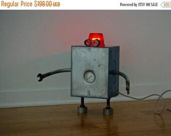 Back To School Sale Free Shipping (USA) Robot Lamp Found Object Handmade Modern Bot Sculpture Nightlight night light Metallic industrial ste