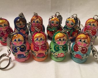 Beautiful Matryoshka KEYCHAINS. HAND Painted on Wood in Russia. WEDDING, Party favors, Stockings. QUALITy Gifts. Fast Ship frm Usa