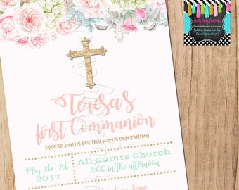 SHABBY CHIC and GOLD Baptism/Confirmation/Communion invitation - You Print