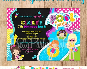 MAKE A SPLASH Pool Party girls invitation - You Print