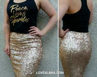 SALE til 11/23 Matte Champagne Pencil Sequin Skirt - Stretchy, beautiful knee length skirt (S,M,L,XL) Made in LA! Ships asap!
