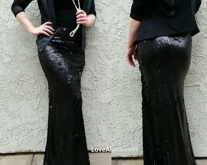 SALE til 11/23 M/L Last one Matte Black Maxi Sequin Skirt - Gorgeous high quality sequins. Matte circular big sequins. Ships asap