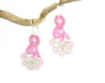 Crochet Earrings- Handmade Pink Beige Floral Beaded Crochet Dangle Lace Earrings, Ethnic Earrings, Unique Oya Earrings, Bohemian Jewelry