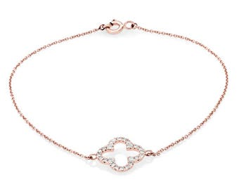 Rose Gold Diamond Bracelet  - Quatrefoil Diamond Bracelet - Simple Diamond Bracelet