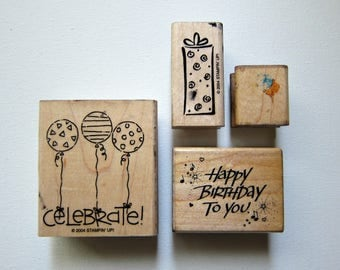 DESTASH- 4pc BIRTHDAY Wood Mounted Rubber Stamps, Pre-used