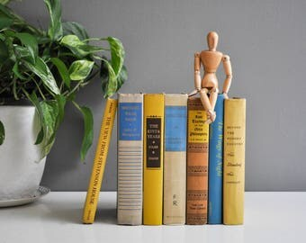 Vintage Decorative Blue, Yellow and Beige Book Collection