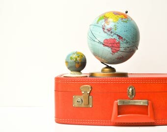 Vintage Bright Orange Hard Shell Suitcase