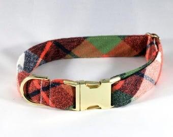 Fall Harvest Plaid Dog Collar
