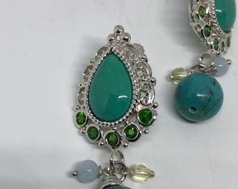 Vintage Handmade 925 Sterling Silver Turquoise with Chrome Diopside Earrings