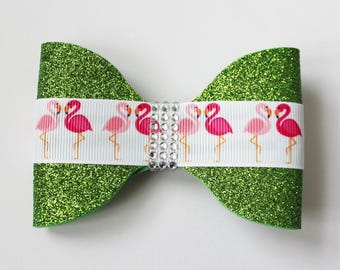 Flamingo Hair Bow - Pink and Green Hair Bow  -  Glitter Hair Bow - Glitter Hair Clip - Ready to ship