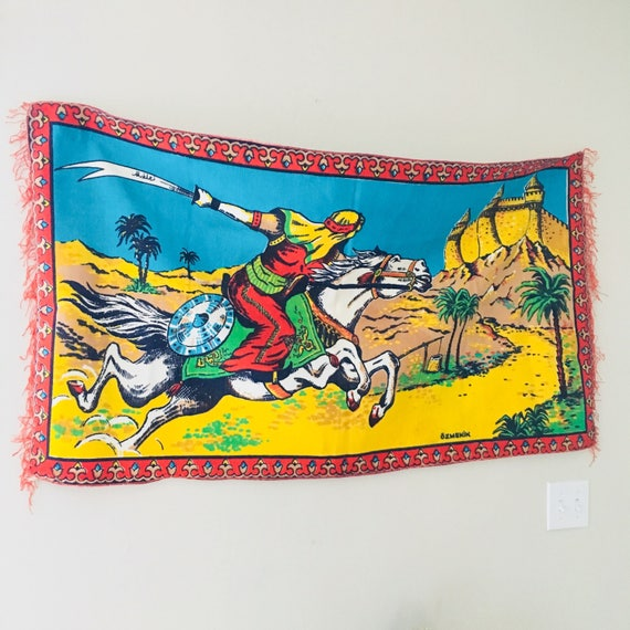 Vintage Colorful Horse Tapestry Large Red White Turquoise Turkish Wall Hanging Yellow Green Warrior Tapestry Oasis Landscape