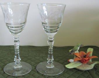 2 Vintage Mid Century Libbey Rock Sharpe 3005-6 Cut Wine Glasses Circa 1950's
