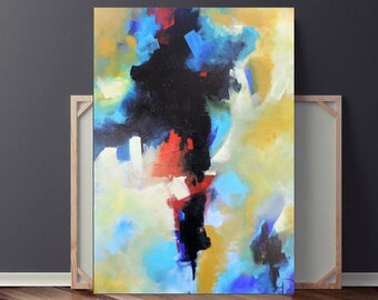 Abstract Painting on Canvas, Vivid Brush Stroke, Abstract Expressionism Painting, Original, Blue & Yellow Textured Painting, Heather Day