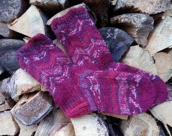 Wool Socks Warm and Soft Hand knitted cabled leg warm gift for her Women's Socks Ready to ship