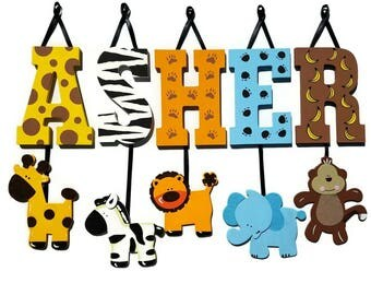 5 LETTER NAME -Individually Hanging Block Letters with adorable hanging shapes/animals jungle zoo safari Any Theme
