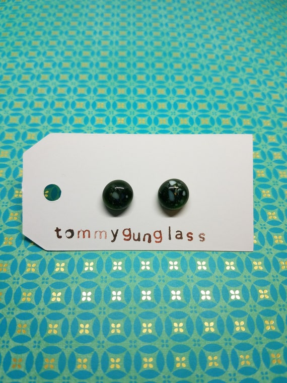 Speckled Forest Green Glass Stud Earrings