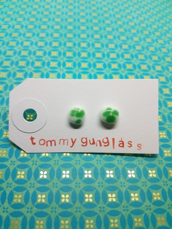 Dainty Green and White Speckled Glass Stud Earrings