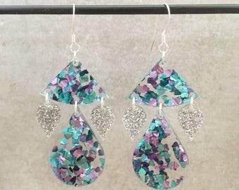 Glitter earrings - glitter drop earrings- statement jewellery - statement earrings -  silver glitter - aqua and putple heart glitter