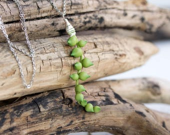 String of Pearls Green senecio Succulent Dangle Necklace Wholesale Succulent Jewelry Women Accessory Wedding Birthday Christmas Gift