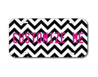 Plastic License Plate Chevron Black Car Tag Custom Personalized Vehicle Business Logo Monogram Engagement Announcement Wedding