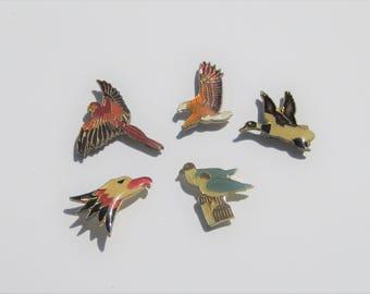 Vintage Enamel Pins: 5 Vintage Wild Bird Enamel Pins, Eagle, Parrot, Gull, Goose