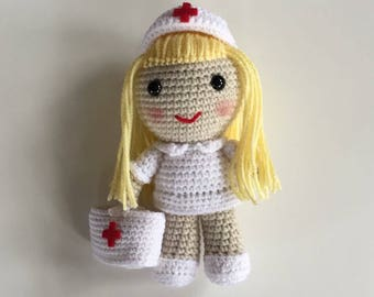 Nurse Jo - Crochet Nurse - Made to Order - Collectible Doll - Amigurumi - Handmade