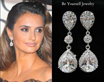 Teardrop Bridal Earrings White Crystal Wedding Earrings Cubic Zirconia Bride Earrings Celebrity Jewelry CZ Bridesmaid Gift Sterling Earrings