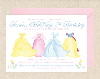 Watercolor Princess Dresses Invitation