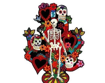ON SALE 40% OFF Tree of Life - Iron on Patch - Tattoo - Senor - Mexican - Folk Art - Sugar Skull - Large - Day of the Dead - Patches - Tshir