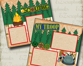 SCOUTING - 2 Premade Scrapbook Pages - EZ Layout 2134