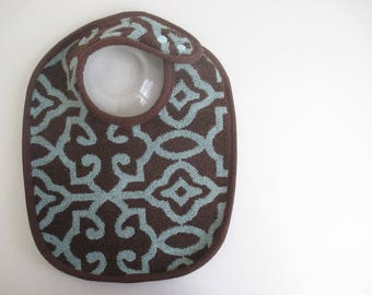EcoBib--Adjustable Snap Closure--Modern Faded Blue Design on Dark Brown--Ready to Ship