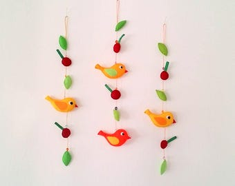Bird and Cherry Wall Hanging, Birds Nursery Mobile, Summer Cherry Crib Mobile, Felt Mobile Room Decor, Summer Party Decor, Girl Room Decor